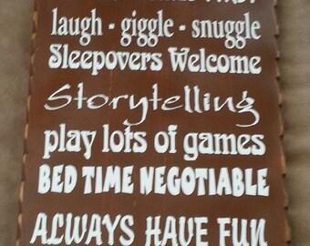 Grandparent's Rules Primitive Wood Sign