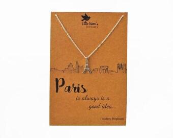 Paris Necklace // Audrey Hepburn Quote • Eiffel Tower Necklace • Parisian Skyline • Dainty Jewellery • Charm Necklace • Arc De Triomphe