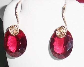Ruby Earrings 27 cts Natural Oval Madagascar Red Ruby gemstones, 14kt yellow gold Pierced Earrings