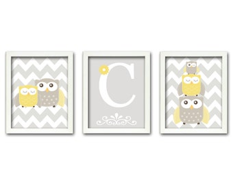 Nursery Art Trio, Nursery Owl Art, Grey and Yellow Nursery, Owl Nursery, Personalized, Set of 3 8x10
