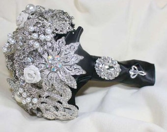 Alternative Bouquet - Black Bouquet - Brooch Bouquet - Crystal Bouquet - Bridal Bouquet - Wedding Bouquet - Broach Bouquet - Deposit