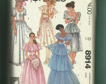 1984 McCalls 8914 Flounces & Ruffles fitted Bodice Dresses for Your Bridesmaids  Sizes 12..14..16