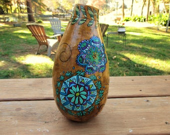Hand Painted Gourd Vase