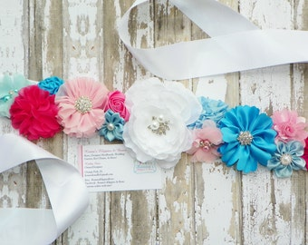 Gender Reveal Sash, Pink Blue Maternity Sash, Maternity Photo Prop, Belly Band, Mommy to be Sash, Gender Reveal Party, Baby Photo Prop