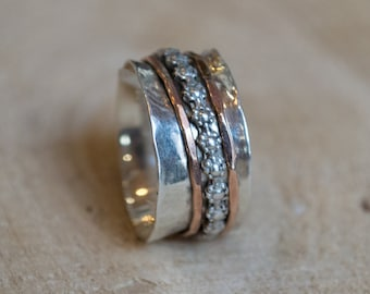 Unique wedding ring, silver spinner ring, meditation ring, Floral band, stacking bands, spinners ring, boho ring - You'll always know R1019H