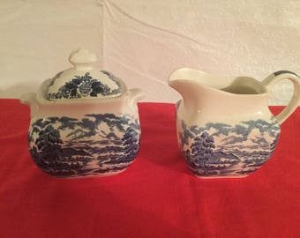 Vintage  Royal Warwick sugar bowl and creamer set