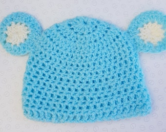 Handmade Baby Bear Cub Blue Crochet Hat With Ears - Sizes Preemie Up To 24 Months