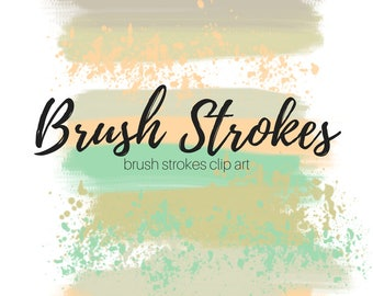 Paint splatter clip art - Paint brush clip art - brush stroke clip art - commercial use