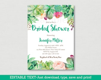 Floral Succulent Bridal Shower Invitation / Succulent Bridal Shower Invite / Watercolor Floral / Cactus / Editable PDF INSTANT DOWNLOAD B116
