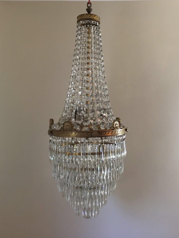 Antique French Empire Basket Wedding Cake Crystal Chandelier