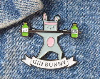 Gin Bunny Enamel Pin Badge, Gin Pin, Enamel Pin, Enamel Badge, Gin Badge, Gin Gift, Gin not Gym, Gin Brooch, Gym & Tonic, Gift for Friend