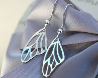 Butterfly Wing outline earrings Sterling Silver