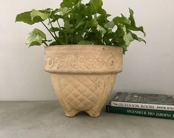 LARGE vintage garden decor cement pot flower container