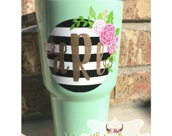 Striped Floral Monogram Decal | Floral Monogram Sticker | Custom Tumbler | Vinyl Sticker | YETI RTIC SIC Cup Acessory | Womens Yeti