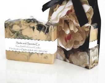 BLACK JASMINE MUSK Handmade Beer Soap / Goat Milk Soap / Musk Soap /  Jasmine Soap / Activated Charcoal / Bar Soap / Gift Soap / Beer Gift