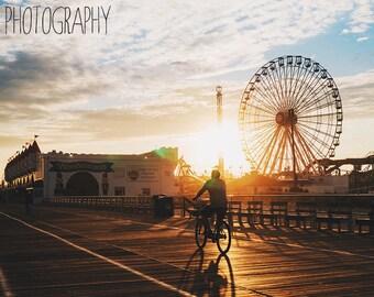 Gillian's at Sunset (beach, ocean city, new jersey, bike, pier, summertime)