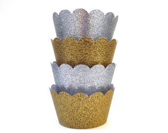 Sparkly Gold or Silver Cupcake Wrappers