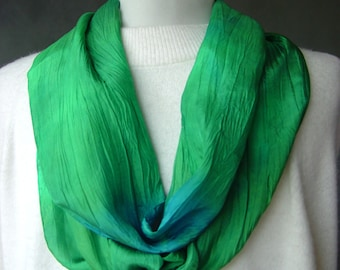 "Hand Dyed Silk Scarf - ""Twisted"" Greens and blues -  hand painted in shades of Emerald green and sky blue with a unique texture gift idea"