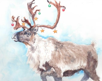 "Reindeer Watercolor Christmas Card 5"" x 7"""