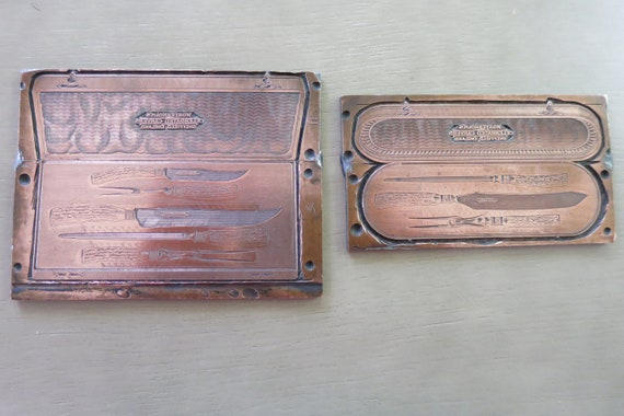 Antique Copper Letterpress Printing Plates Set of 2 Printing Blocks Advertising Knives Wostenholmu0027s Carving Knife Set from RuffDogAntiques on Etsy Studio & Antique Copper Letterpress Printing Plates Set of 2 Printing Blocks ...