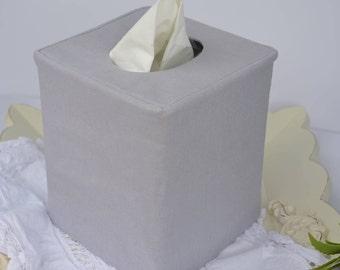 Gray linen tissue box cover