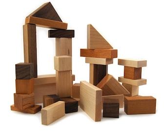Montessori Bebe - Wooden Building Blocks - Montessori Baby Toys - Expecting Mom Gift - Sensory Toys