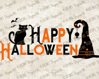 "Digital Design ""Happy Halloween"" Instant Download- Includes svg, png, jpeg, dxf, & eps formats."