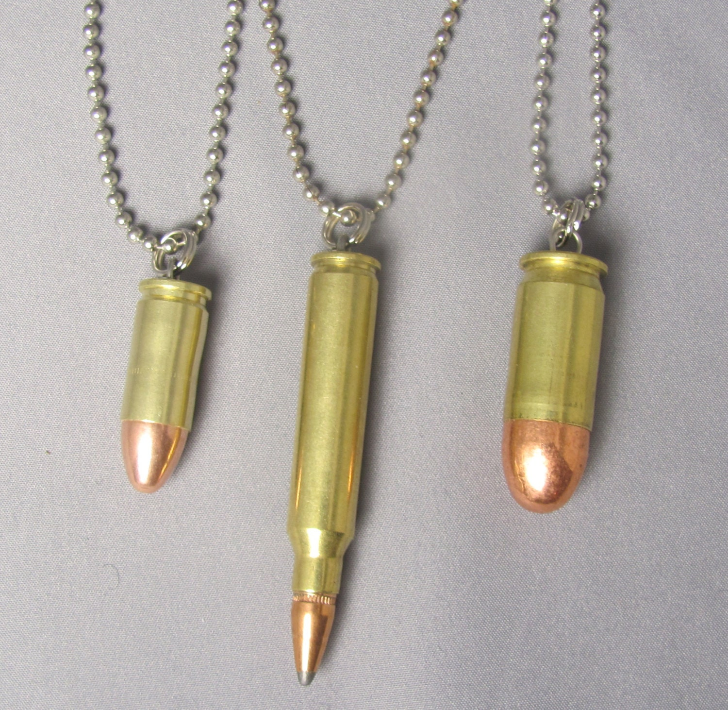Bullet pendant jewelry on a 24 inch dog tag chain necklace zoom mozeypictures Gallery