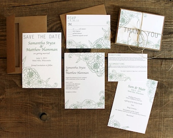 floral peony wedding invitation SAMPLE set - save the dates, invitations, response cards, reception cards, programs, thank you cards
