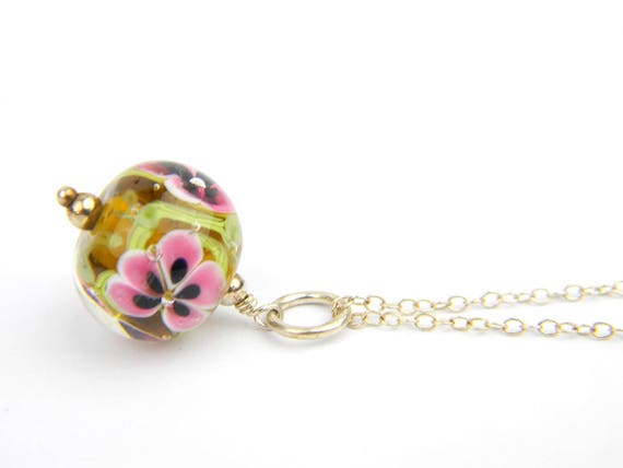 Art Glass Pendant - Medium Maple and Pink Art Glass Bead Sterling Silver Pendant - Classic Collection