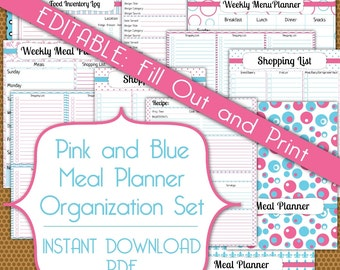 Editable Meal Planner PDF Instant Download Organization Printable Set in Pink and Blue