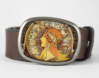 Mucha belt buckle, Art Nouveau belt buckle, Zodiac Belt Buckle, Womens belt buckle, gift for her