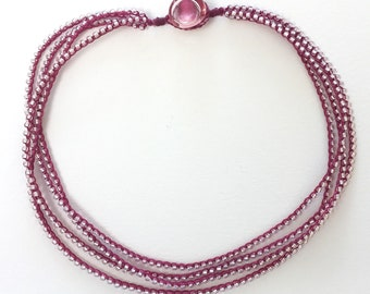 """Pink on Magenta Four Strand Beaded Chain Necklace with Handmade Glass Button 18"""""""