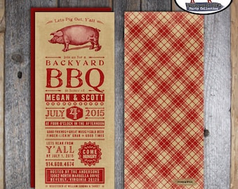 BBQ Shower Invitation | Backyard BBQ Shower Invitation | I Do BBQ Invitation | bbq Rehearsal Dinner | Cookout Invitation Vintage | Printable