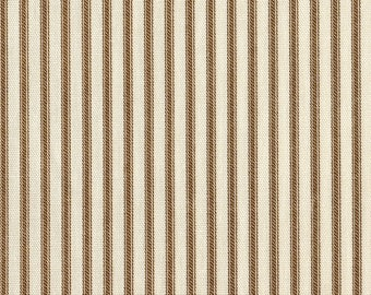 """15"""" King Tailored Bedskirt, Suede Brown Ticking Stripe, French Country"""