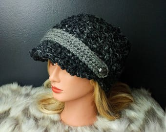 Brimmed crochet hat - slouchy, sequins, buttons