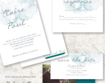 Shades of Blue - 5x7 Wedding Invitation by ImPressive Prints