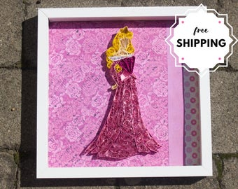 Disney Princess Christmas Gifts / Quilled Paper Art / Princess Aurora / Disney Nursery Art / Collage Art / Scrapbooking gifts for her /
