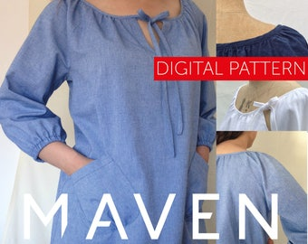 The Wendy Artisan Smock PDF sewing pattern, DIGITAL DOWNLOAD, tunic pattern, womens sewing pattern, peasant top, pattern, top, tunic, pdf