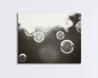 "Bathroom Canvas Print Art - soap bubbles black white wall art laundry room decor modern canvas gallery wrap abstract photography, ""Bubbles"""