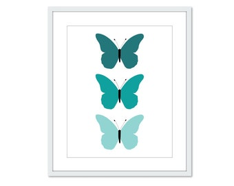 Butterflies Art Print - Teal Turquoise Blue -  Spring Summer Decor - Wall Art - Under 20