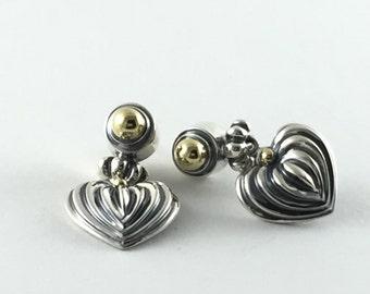 Lagos Designer 18K and Sterling Caviar Heart  Earrings