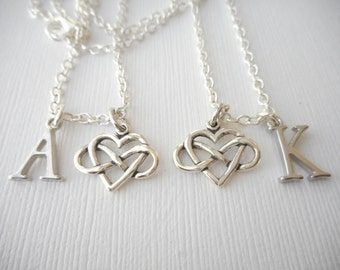 2 Heart Infinity- Initial Best Friend Necklaces (Set)