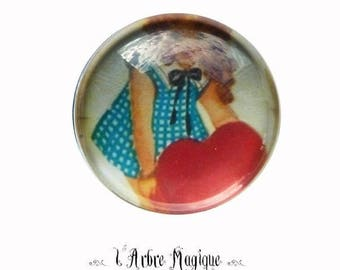 2 cabochons craft love heart message glass 16 mm - N199