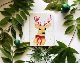 Reindeer Watercolour Christmas Card