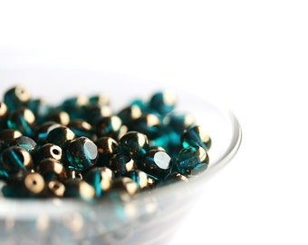 Dark teal beads, Czech glass, teal green beads with luster, round cut, spacers, fire polished - 6mm - 30pc - 0059