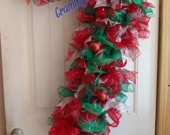 Christmas Candy Cane Wreath, Christmas Wreath, Whismical Door Decor, Deco Mesh Wreath #006