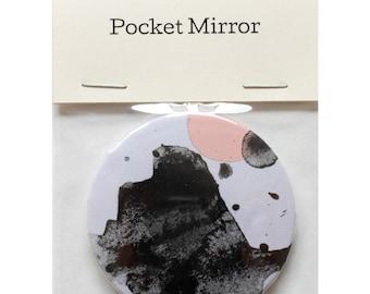 "Pocket Mirror by Fiona Hamilton - One Off, Paint, Pattern, Splash, Splodge, Foil, 2.25"", Purple, Black, Pink"
