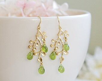 Peridot Green Earrings August Birthstone August Birthday Gift Gold Leaf Tree Branch Dangle Earrings chandelier Earrings Summer Jewelry