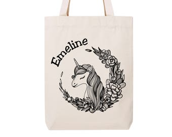 Cotton bag to personalize - recycled cotton - Unicorn tote bag - personalized gift - name - Christmas gift - bridesmaid gift